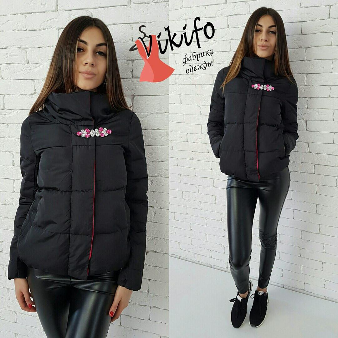 efe844b3bdd Стильная женская куртка воротник-стойка