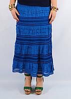 Юбка женская с кружевом синяя, 44-54 р-ры