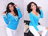 Стильный вязаный свитер с V-образным воротом