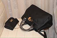 Стильная женская сумочка с кармашеком для телефона,ткань эко кожа,цвет черный