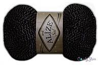 Турецкая пряжа Alize Simli Sal черный с серебром №6001