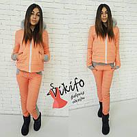 Теплый зимний костюм тройка: куртка, штаны и кофта, утеплен силиконом, мех натуральный. Оранжевый цвет