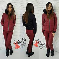 Теплый зимний костюм тройка: куртка, штаны и кофта, утеплен силиконом, мех натуральный. Бордовый цвет