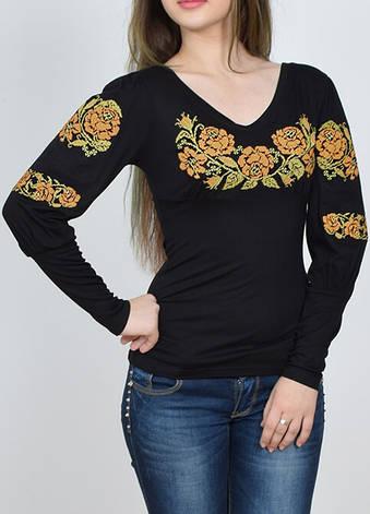 Вышитая футболка с длинным рукавом розы, фото 2
