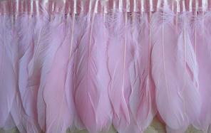 Перьевая тесьма из гусиных перьев .Цвет розовый.Цена за 0,5м