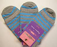 Женские высокие носки в голубую полоску серого цвета