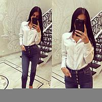 Классическая прямая женская белая рубашка у-2613283