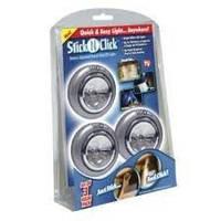 Светодиодный встраиваемый светильник Stick n Click ( 3 штуки в комплекте)