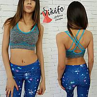 Женский костюм для фитнеса и тренажерного зала, топ с голубыми шлейками(есть чашки)и лосины материал лайкра