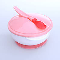 Детский набор посуды на присоске с крышкой