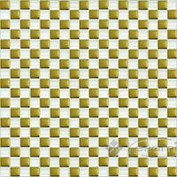 Grand Kerama мозаика Grand Kerama 30х30 (1,5х1,5) шахматка бело-золотое (413)