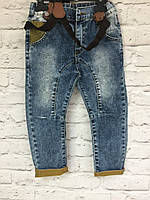 Детские джинсы на подтяжках (синий+жолтый), одежда для мальчиков 86-110