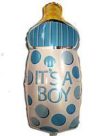 Фольгированный воздушный шарик Бутылочка с соской голубая 80 х 45 см.
