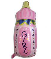 Фольгированный воздушный шарик Бутылочка с соской розовая 80 х 45 см