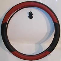 Оплетка руля кожа L King  KSW-2959-1 черная/красная