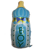 Фольгированный воздушный шарик Бутылочка с соской голубая 80 х 45 см