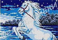 """Схема для вышивки бисером на габардине """"Белый конь""""(полная зашивка)"""