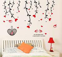 Інтер'єрна декоративна наліпка на стіну Пташки / Интерьерная виниловая наклейка стикер на стену Птички (AY828)