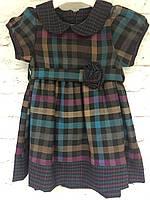 Платье для девочек в клеточку под поясок.