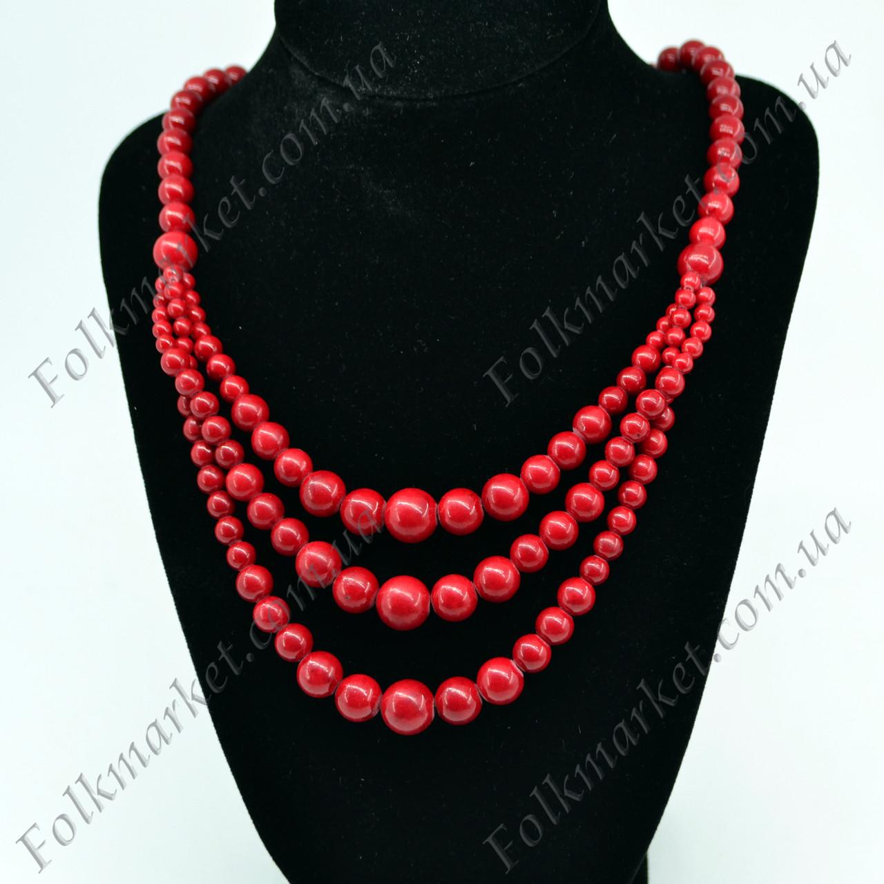 Ожерелье из натурального коралла (прессованного)