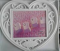 Фоторамка коллаж LOVE сердце 1фото 20x25 бел 34v5-4