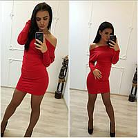 Платье мини спущенное на одно плече красное