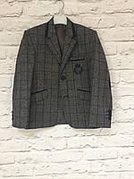 Пиджак для мальчика, шерстяной в клетку на рост 122-140