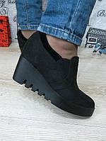 Туфли черные на танкетке замшевые, фото 1
