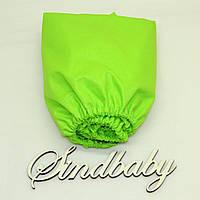 Детская простынь на резинке в кроватку, зеленый однотон 60х120 см