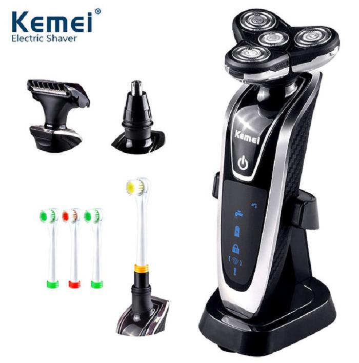 Аккумуляторная электробритва стайлер Kemei 4 в 1. Триммер, бритва, зубная щетка электрическая. Набор мужской