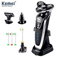 Аккумуляторная электробритва стайлер Kemei 4 в 1. Триммер, бритва, зубная щетка электрическая. Набор мужской, фото 1