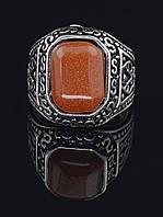 Перстень с авантюрином прямоугольной формы, гипоаллергенный сплав украшения с искусственным камнем № 037856-210