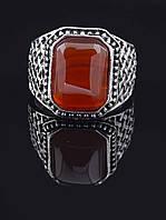 Перстень с сердоликом прямоугольной формы, Коричневый гипоаллергенный сплав украшения из натурального камня № 037858-200
