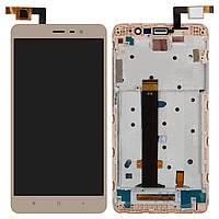 Дисплей (экран) для телефона Xiaomi Redmi Note 3 + Touchscreen with frame Original Gold