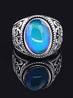 Перстень с кошачьим глазом овальная вставка, Голубой гипоаллергенный сплав украшения с искусственным камнем № 037863-190