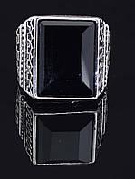 Перстень с агатом прямоугольной формы, гипоаллергенный сплав украшения с искусственным камнем № 037864-190