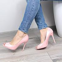 Туфли женские лодочки на шпильке Essia пудра лак
