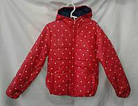 Куртка детская   ''Сердца'' для девочки 4-8 лет, красная