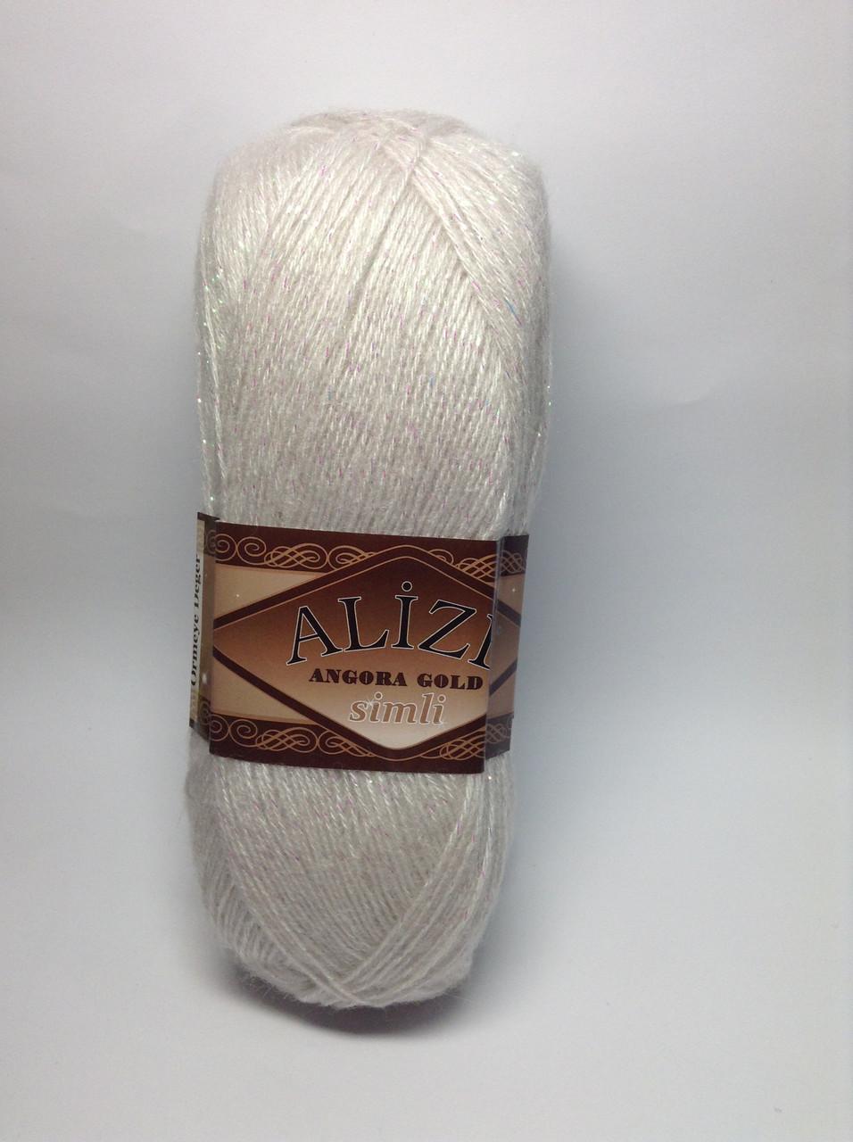 Пряжа angora gold simli - цвет серо-бежевый (натуральный)