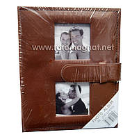"""Фотоальбом с застёжкой """"коричневый"""" (альбом для фотографий) 200/10Х15см"""