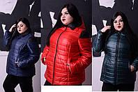 Женская весенняя спортивная куртка больших размеров цвет красный р-52-74