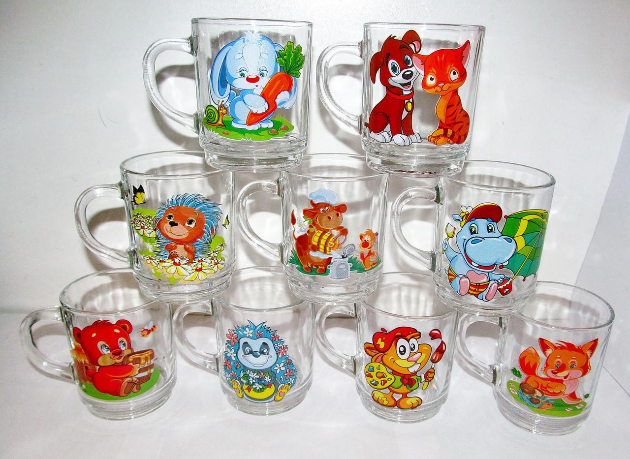 Чашка стеклянная детская 200 мл ассортимент
