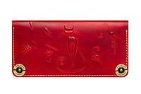 Кожаный кошелек ручной работы Gato Negro Catswill женский, красный (женские кошельки из натуральной кожи)