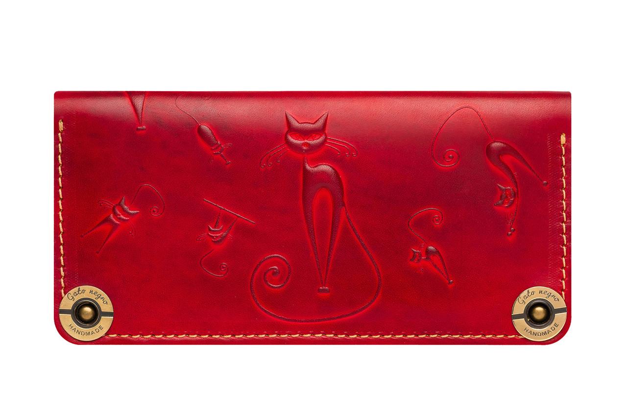 57e6ad1616f7 Кожаный кошелек ручной работы Gato Negro Catswill женский, красный (женские  кошельки из натуральной кожи)