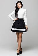 Стильная   женская черная  юбка с полоской   Радуга    Leo Pride 42-44 размеры
