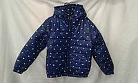 Куртка детская   ''Сердца'' для девочки 4-8 лет, темно синяя