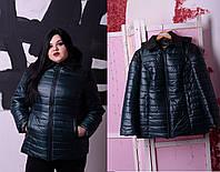 Женская весенняя спортивная куртка больших размеров цвет бутылочный р-52-74