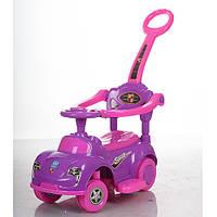 Детская каталка-толокар Bambi Кроха Фиолетовая со свето-звуковыми эффектами и родительской ручкой