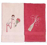 Набор полотенец с вышивкой Мужчина с букетом 2 шт. 40х70 см