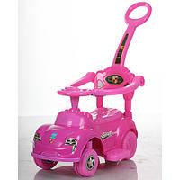 Детская каталка-толокар Bambi Кроха Розовая со свето-звуковыми эффектами и родительской ручкой